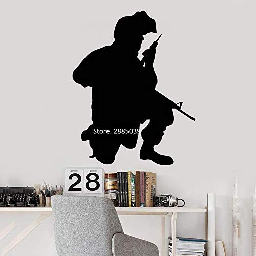 jtxqe Boy Man Cool Soldier Silhouette Graffiti Name Wall Stickers Personalized Wall Stickers Used For Home Decoration Wall Decal 42Cm X 53Cm