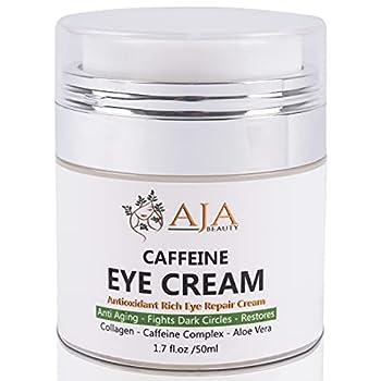 AJA Beauty Caffeine Eye Cream - Repair Dark Circles + Puffiness + wrinkles - Collagen Peptides AHA Aloe Matcha Tea Vitamin C - Anti Aging Repair Cream for Men & Women