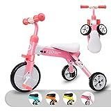 XJD 2 in 1 Triciclo per Bambini Bicicletta Equilibrio Adatto per età 2-4 Anni Certificazione CE (Rosa)