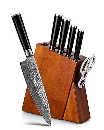 HEZHEN Damascus Steel 7pcs Kitchen Knives Block Set Multifunctional Kitchen Shears Professional forging Chef Knife Santoku Nakiri Utility Fruit Ergonomic Ebony Handle -Classic Series