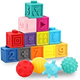 GILOBABY 16 PCS Baby Soft Blocks Sensory Balls Set, Stacking Building Blocks Squeeze Toys, Baby Teething Bath Toys with Numbers Animals Shapes Textures for Toddlers