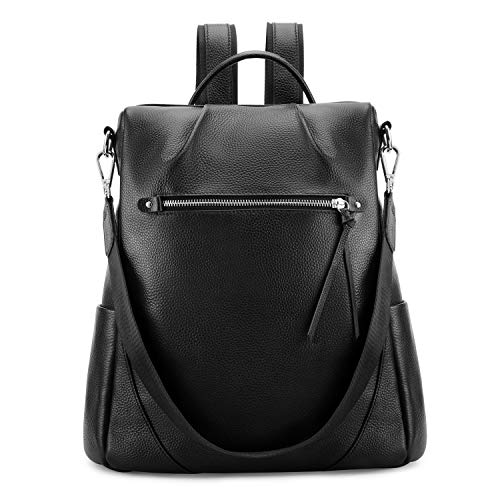 Kattee Women Real Leather Backpack Anti-Theft Rucksack Fashion Shoulder Bag Fits 11inches Tablet (Black)