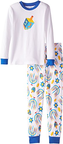 Sara's Prints Big Boys' Long John Pajamas, Hanukkah/Dreidel, 14