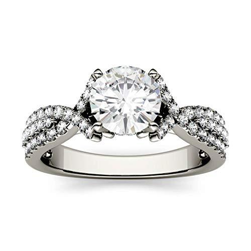 Charles & Colvard Forever One anillo de compromiso - Oro blanco 14K - Moissanita de 6.5 mm de talla redonda, 1.56 ct. DEW, talla 14,5