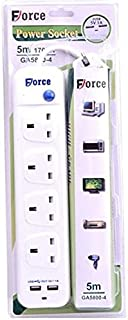 POWER EXTENTION SOCKET Cord with on/off Switch 5M WIRE 2USB PORTS