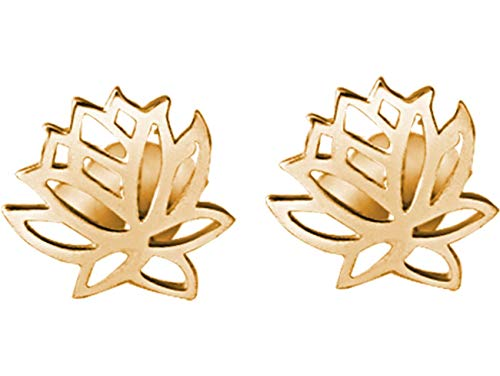 Gemshine YOGA Ohrringe Lotus Blumen Ohrstecker in 925 Silber, hochwertig vergoldet oder rose. Nachhaltiger, Fair Trade, qualitätsvoller Schmuck Made in Spain, Metall Farbe:Silber vergoldet