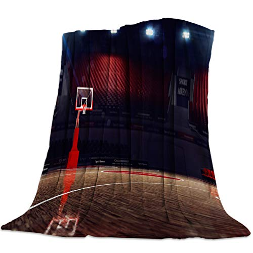 Sweet Comfort Dream Basketball Court Sport Flannel Fleece Blankets Luxury Couch Cover Blanket Red Soft Lightweight Plush Throw Blankets for Couch/Chair/Bedroom All Season, 50x60 inches