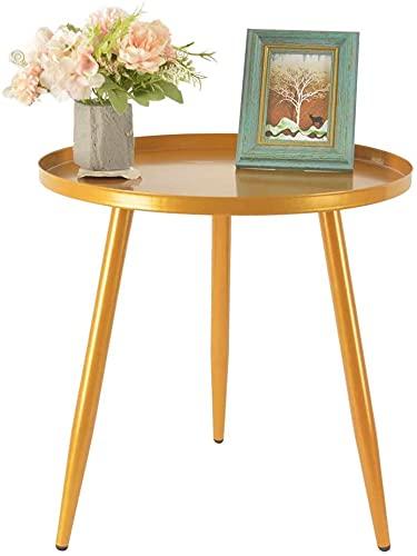 H JINHUI 45cm metalen bijzettafel voor woonkamer, ronde bankeinde salontafel, moderne eenvoudige metalen frame snacktafel, industriële nachtkastje voor nachtkastje voor nachtkastje bureau voor slaapkamer, zijeindtafels (goud)