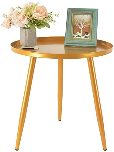 H JINHUI 45cm Metal Side Table for Living Room, Round Sofa End Coffee Table, Modern Simple Metal Frame Snack Table, Industrial Bedside Table for Nightstand Desk for Bed Room, Side End Tables (Gold)