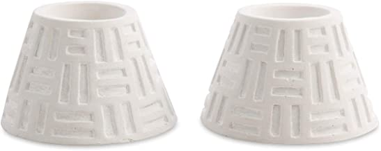 Boho Traders Geometric Cement Candle Holder Set, White, Pack of 2