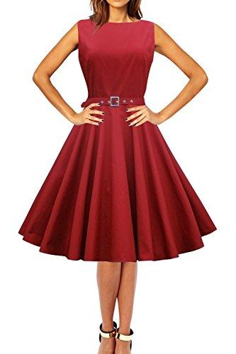 'Audrey' Vestido Vintage De Los Años 50 Clarity (Rojo Carmesí, ES 46 - XXL)