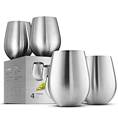 Stainless Steel Unbreakable Wine Glasses - 18 Ounce Set of 4 Wine glasses. Premium Grade 18/8 Stainless Steel Red & White Stemless Wine Glasses set,