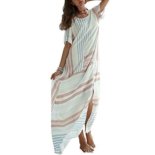 MxZas Plaża okrycie damskie bawełniane lniane dzielona spódnica sukienka letnie wakacje bikini bluzka odzież chroniąca przed słońcem (kolor: Biały, rozmiar: M)