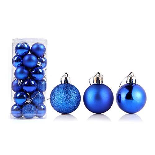 ghhshjhlk 24Pcs 4/6 / 8cm Palline di Natale Ornamento Bagattelle Albero di Natale Decorazioni per Appendere Le Finestre Leggere Ed Ecologiche Blu Reale 4 Centimetri