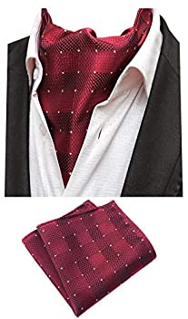 MOHSLEE Men Red Plaid Silk Suit Cravat Ascot Scarf Tie Necktie Pocket Square Set