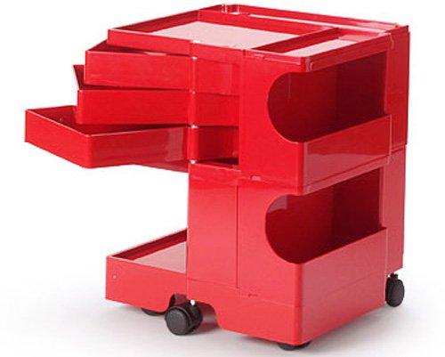 ボビーワゴン2段3トレイ レッド サイドワゴン キッチンワゴン インテリア 収納家具 デザイナーズ家具