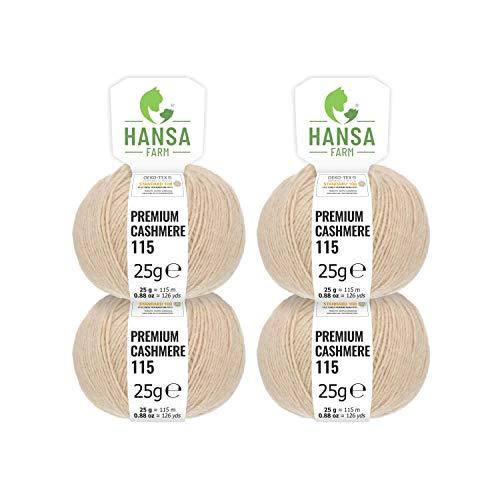 HANSA-FARM 100% Lana Cachemire Premium in 12 Colori (Morbida, Non Punge) - Set da 100g (4 x 25g) - Pregiata Lana Cashmere per Maglia e Uncinetto by Beige