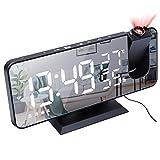 Despertador Proyector, Everpertuk Reloj Despertador Digital USB con Proyección 180°, Radio FM, Puerto de Carga USB, Pantalla de Espejo LED, Alarma Dual, Snooze, Termómetro, Cable USB 1.5 m (Negro)