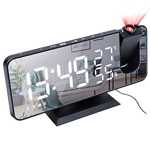 Radiosveglia con Proiettore, Everpertuk Sveglia Digitale da Comodino con Proiettore 180°, Orologio da Comodino Digitale LED, FM Radio, Porta di Ricarica USB, Doppia Allarme, Snooze, Termometro (Nero)