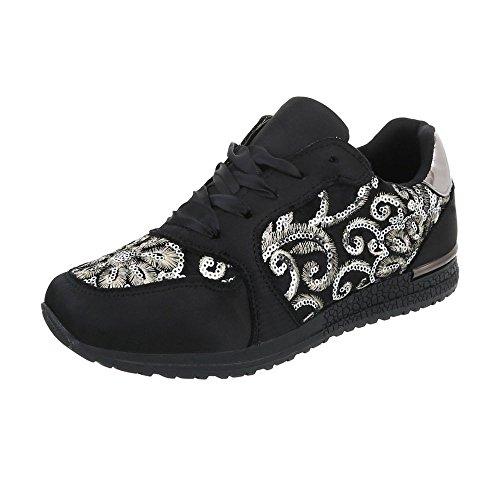 Ital-Design Sneakers Low Damen-Schuhe Sneakers Low Sneakers Schnürsenkel Freizeitschuhe Schwarz, Gr 38, G-28-