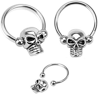 Pair of Skull Skeleton Hypoallergenic Surgical Steel Captive Bead Horseshoe Ring Lip, Belly, Nipple, Cartilage, Tragus, Earring Body Jewelry Piercing Hoop - 14 Gauge, 1/2