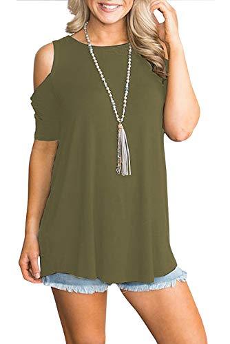 Chemise Femme Epaule Denudee Manche Ouverte T-Shirt Asymetrique Col Bateau Tops Haut Off Shoulder avec Noeud Casual Simple Tee Shirt Grande Taille