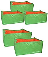 voolex Terrace Gardening HDPE Grow Bags for Vegetable Plants, 18x12x9 Inches/46 LX30 W X22 cm H-Pack of 5