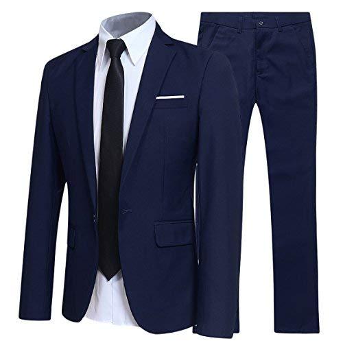 Traje de 2 piezas para hombre compuesto por chaqueta y pantalones, ajuste estrecho, para boda, cena,negocios, casual, disponible en 10 colores Azul azul marino Large