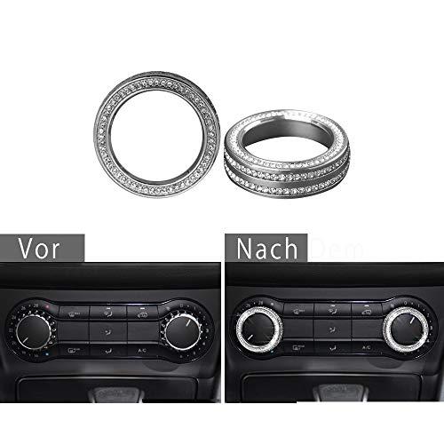 Mercedes-Zubehör Benz Teile Verkleidung Klimaanlage Steuerschalter Knopf Regler Kappen Abdeckung Abziehbilder Innenblenden Dekorationen C KLASSE GLA AMG W204 W246 C117 X156 Bling Crystal (Silber)