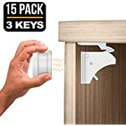 TinyPatrol 15 Locks with 3 Keys Baby Safety Cabinet Lock [EASY SET UP] Magnetic Cabinet Locks RELIABLE and DURABLE BABYPROOFING for Cabinets, Drawers [INVISIBLE LOCKS -OUTWIT SMART TODDLERS]