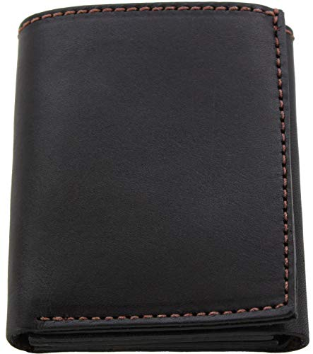 Premium Full Grain Bridle Leather Men's Trifold Wallet With ID Window – Brown - Made in USA
