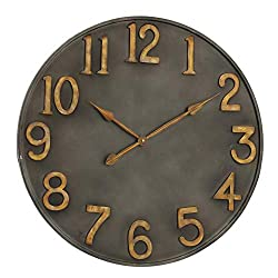 Industrial Modern Wall Clock, Pewter Grey Metal, Antique Gold Numerals, Quartz Movement, 30 Inches Diameter, Oversized