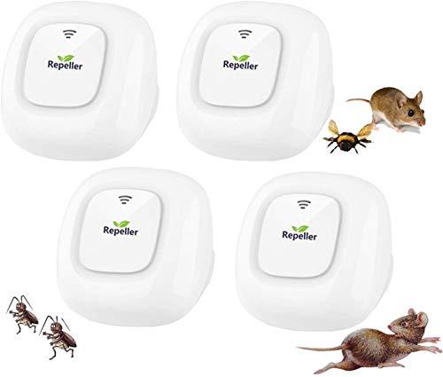 WARDBES Repelente Ultrasónico de Plagas - Ahuyentador de Ratones Ultrasonidos - Repelente Ultrasónico Mosquitos Cucarachas - Antimosquitos Eléctrico Insectos Ratas Moscas Arañas Hormigas