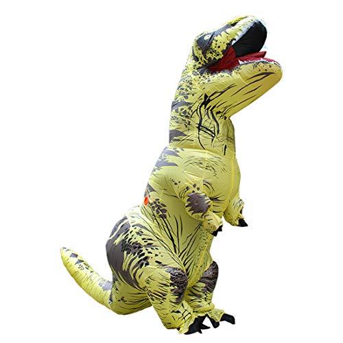 Lanafall Vuxen uppblåsbar kostym dinosaurie kostymer T REX maskeraddräkt maskot cosplay kostym för män kvinnor barn dino tecknad film, gul, vuxen