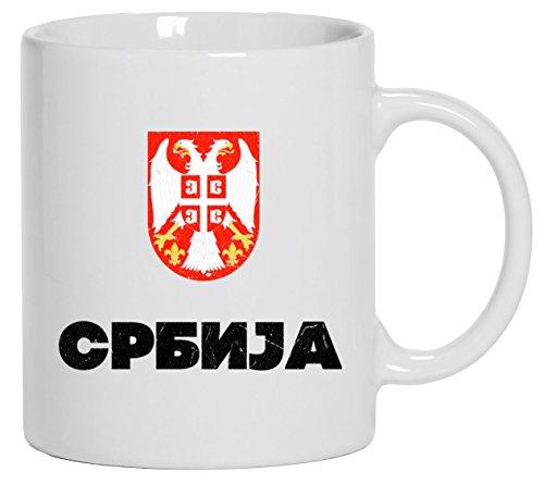 Wappen Srbija Belgrad Länder bedruckte Kaffeetasse Bürotasse mit Spruch Motiv Flagge Serbien, Größe: onesize,Weiß