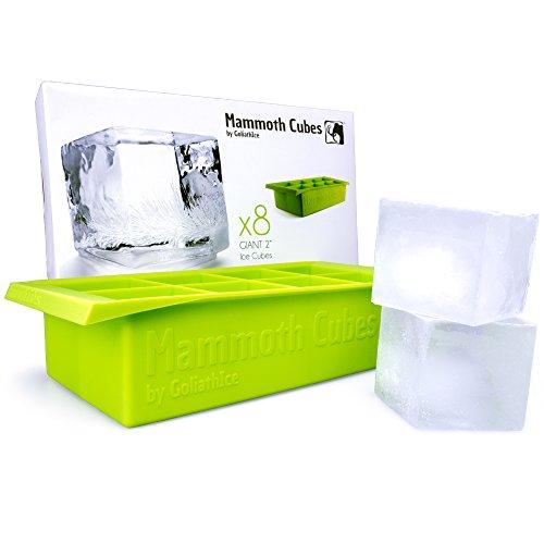 Große Designer Eiswürfelschale erzeugt 8 Mammut 5 cm Eiswürfel. Supercoole Getränke 10x länger! Einzigartig: Wirklich eckige Würfel, Tragegriffe, Anti-Verschütt-Lippe Geruchsfrei / FDA-Genehmigt / lebensmittelechtes Silikon