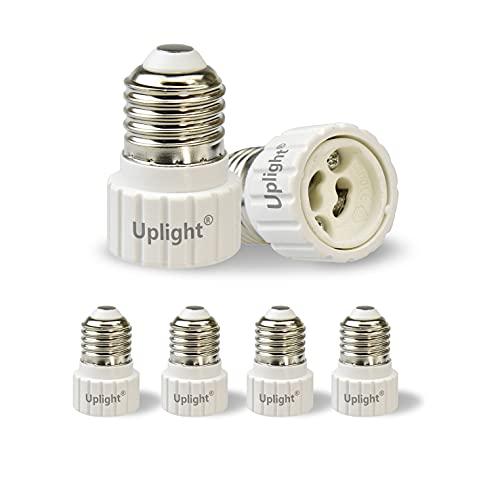 Uplight Adaptador E27 a GU10,Conversor Bombilla E27 a GU10,E27 Socket Convertidor para Bombillas LED y Bombillas Incandescentes,paquete de 6.