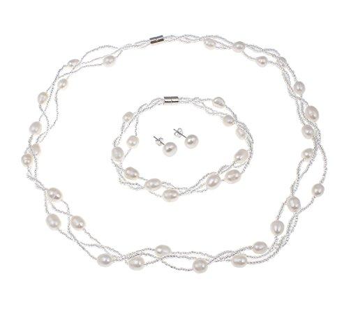 TreasureBay Elegante Parure di Perle Collana Bracciale e Orecchini