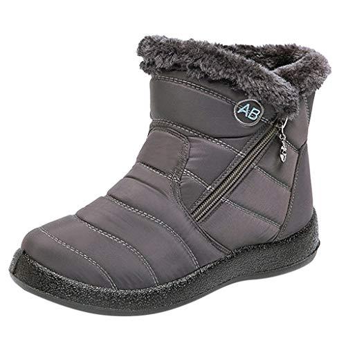 Xmiral Damen Schneeschuhe Flauschiger Reißverschluss wasserdichte Und Warme Stiefel Stiefeletten(40,Grau)