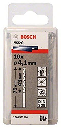 Bosch 2608585486 Din338 HSS-G Metal Drill Bit, 4.1mm x 43mm x 75mm, Silver, Pack of 10