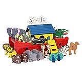 Arche Nuh, (Prophet Noah) Holzspiel, EIN Schiff und jeweils 12 robusten, gut greifbaren Tierpärchen, Holzspielzeug