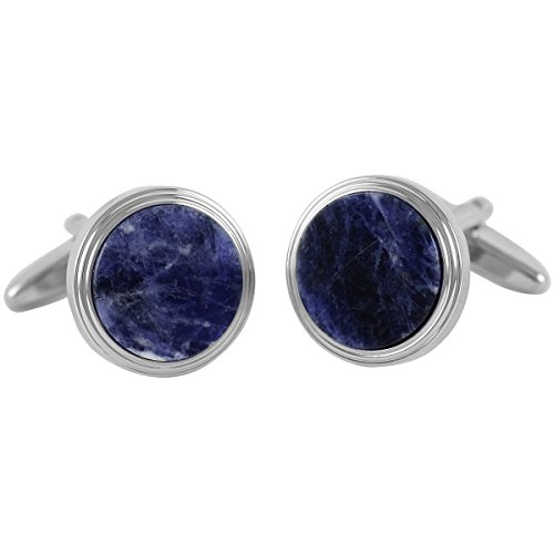 Lindenmann Cufflinks/Cuff Buttons, Silvery with Sodalite, Gift Box, 1570-3