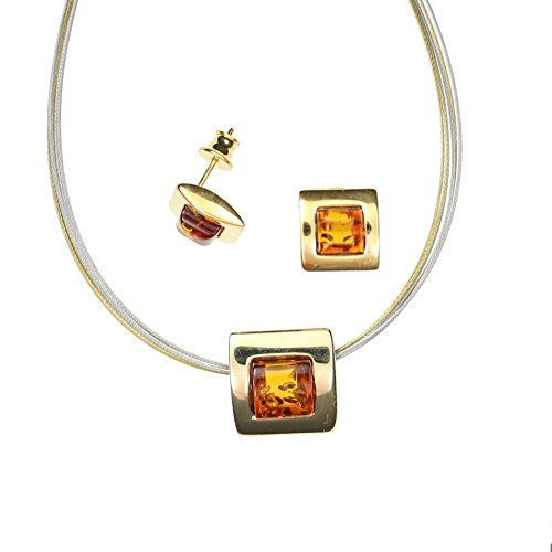 Artisana-Schmuck Choker necklace with pendant made of 925//000 sterling silver with amber.