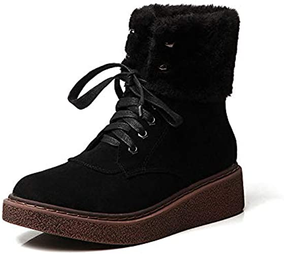 Shukun Bottes Bottes de Neige Femme Tube Court Bottes d'hiver épais Bottes pour Femmes Martin Bottes Muffin épais Bottes épais Chaussures en Coton Chaud