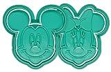 Pack de 2 Molde Cortador de Galletas - Dibujos Animados Disney – Minnie y Mickey Mouse (Turquesa)
