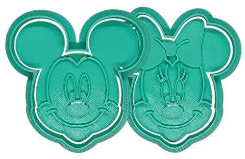 Pack de 2 Molde Cortador de Galletas - Dibujos Animados Disney – Minnie y Mickey Mouse (Turquesa)