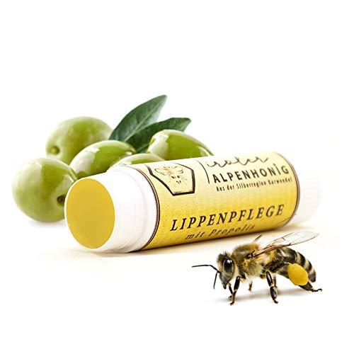 Lippenpflege Propolis, 100% natürlicher Lippenbalsam mit Bienenwachs und Olivenöl, Lippenstift von Tiroler Alpenhonig hergestellt in den Tiroler Bergen (1x Lippenpflegestift)