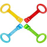 4 Pieces Baby Stand Up Walker Tool Ring for Playpen Toddler Crib Hooks General Use Toddler Training Ring Baby Toys Bed Rings for Baby Stand Up (Yellow, Red, Green, Blue)