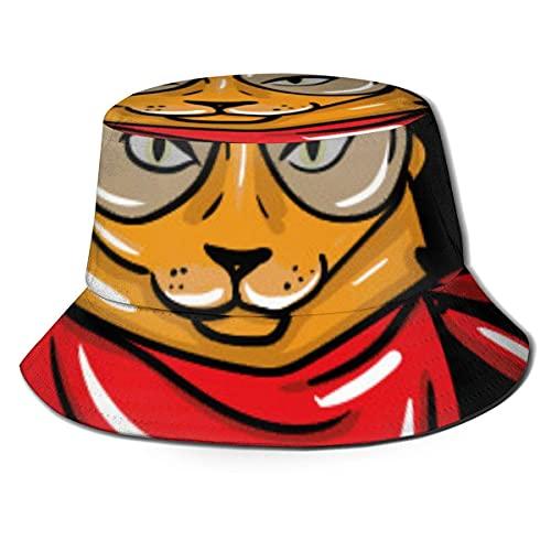 Gorro de viaje plegable y transpirable para acampar al aire libre con gafas, pendientes y pañuelo rojo