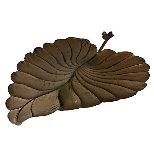 L'Héritier Du Temps Grande Feuille Coupelle à Poser Style Bain a Oiseaux ou Mangeoire de Jardin en Fer Marron 17x43x53cm